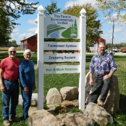 Ken, Judy, and Mark Kirkman proudly displays their MAEAP verification sign on their Shiawassee County Farm.